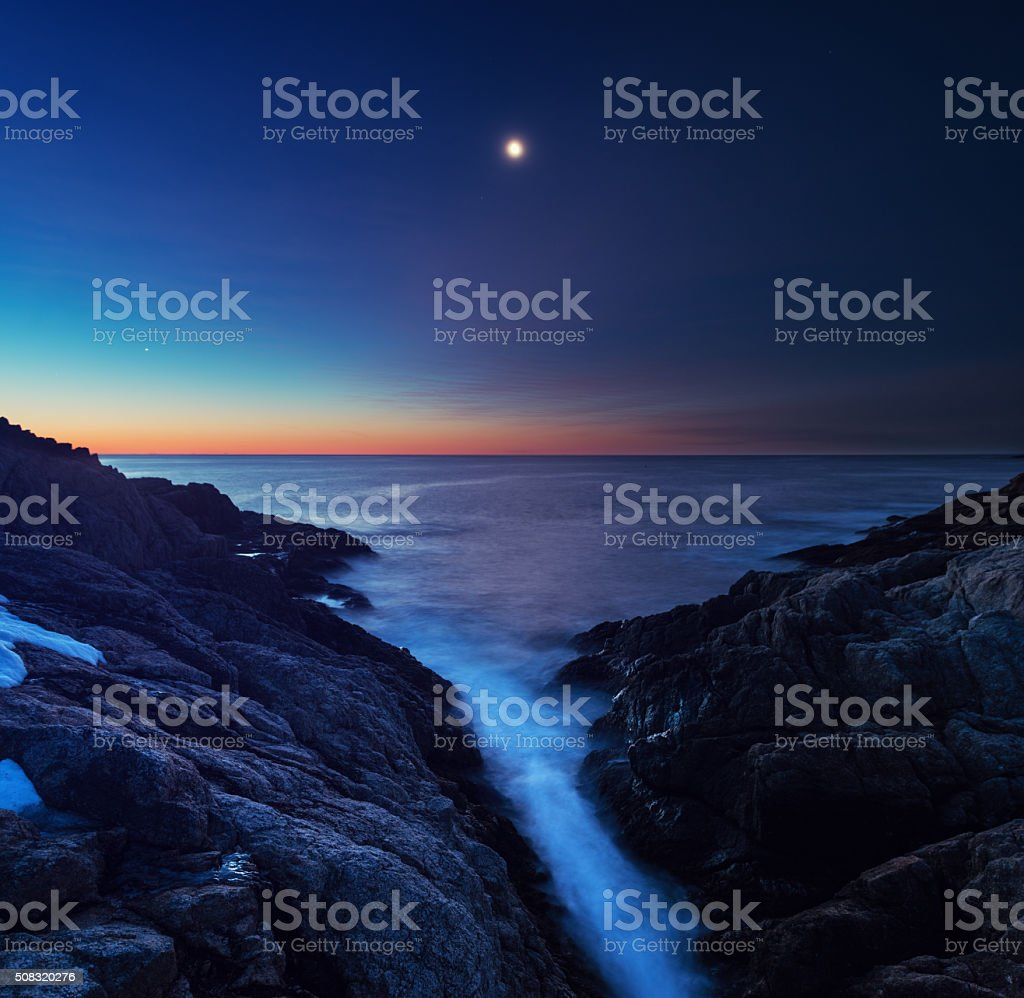 Moonlit Cove stock photo