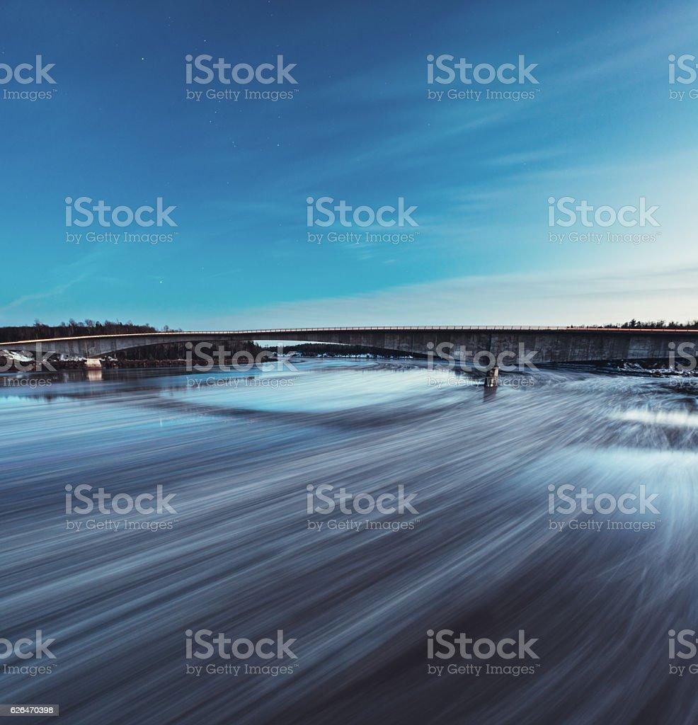 Moonlit Ice Floes stock photo