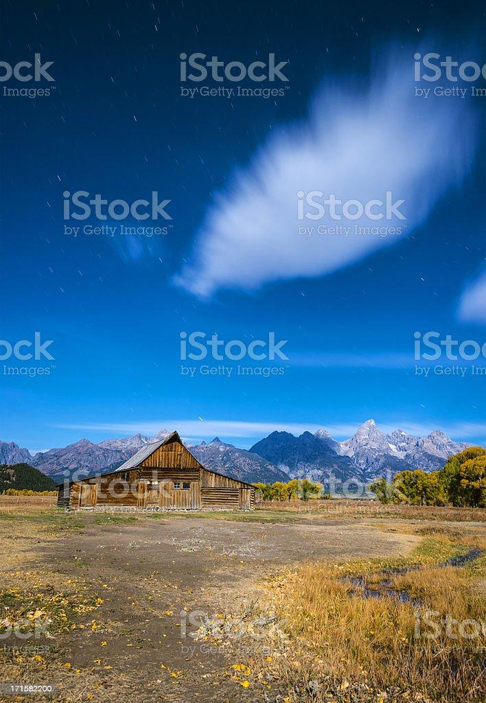 Moonlit Mormon Barn-Grand Teton stock photo
