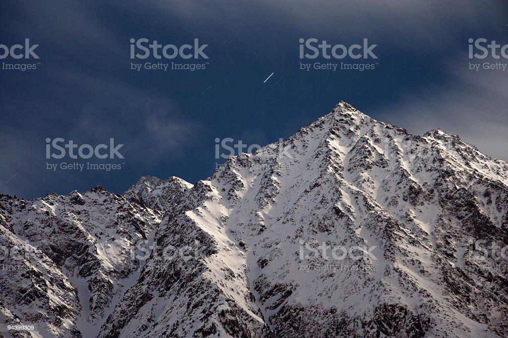 Moonlit Mountain Peak royalty-free stock photo