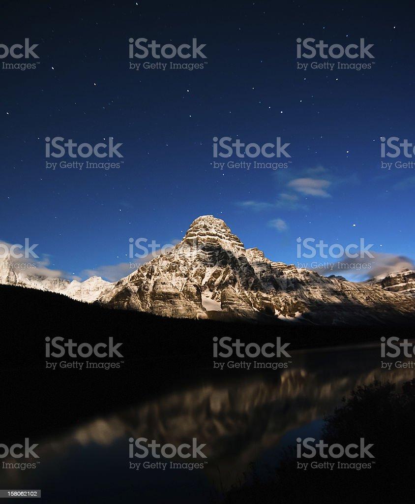 Moonlit Mountain stock photo
