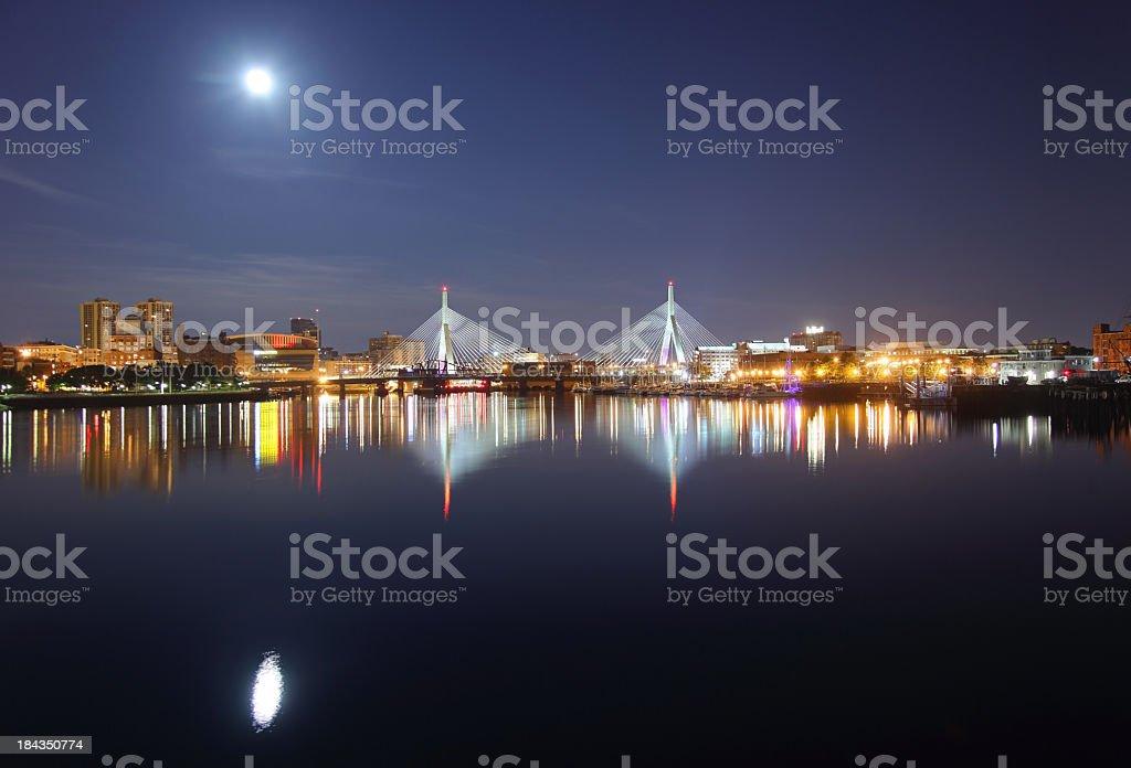 Moonlit Night in Boston stock photo