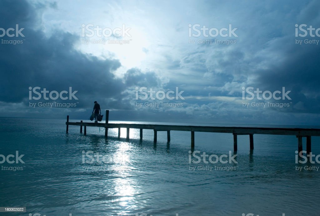 Moonlit pier royalty-free stock photo