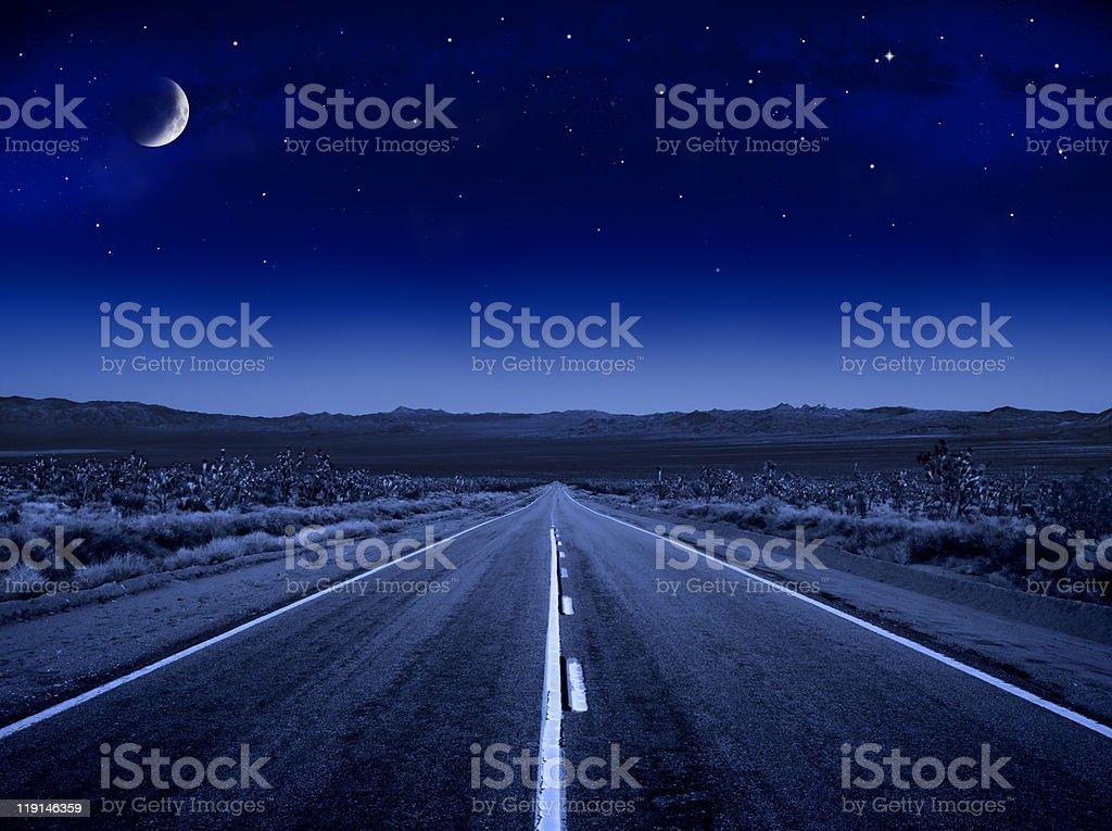 Moonlit Road stock photo
