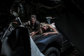 Moonlit Zombies In Car Crash Carnage