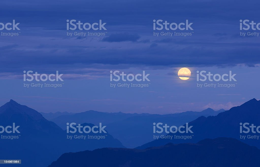 moonrise above the alps - lechvalley, tiro, austria royalty-free stock photo