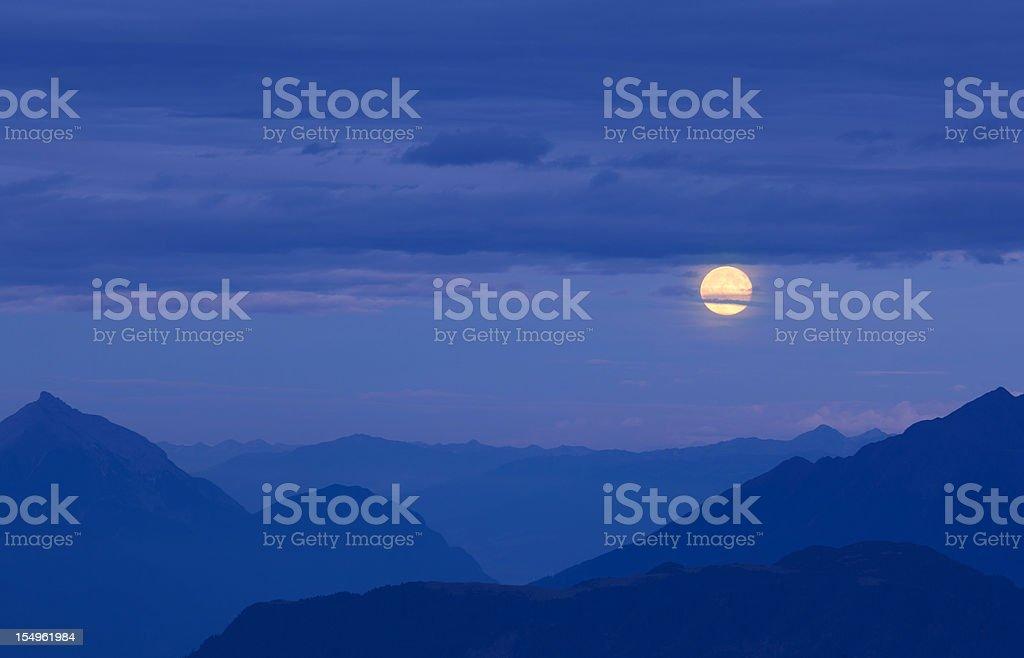 moonrise above the alps - lechvalley, tiro, austria stock photo