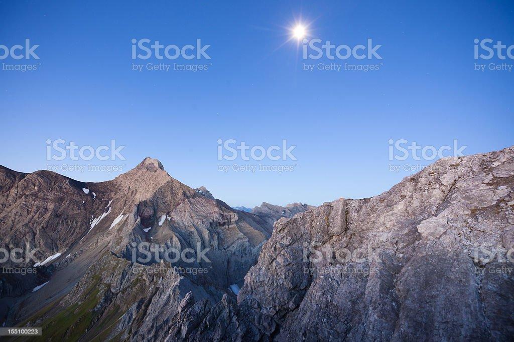 moonrise above the alps - lechvalley, tirol, austria stock photo