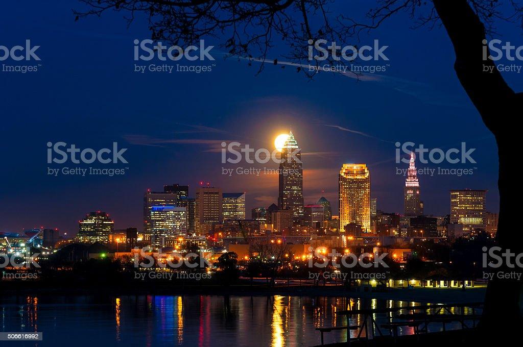 Moonrise behind Cleveland stock photo