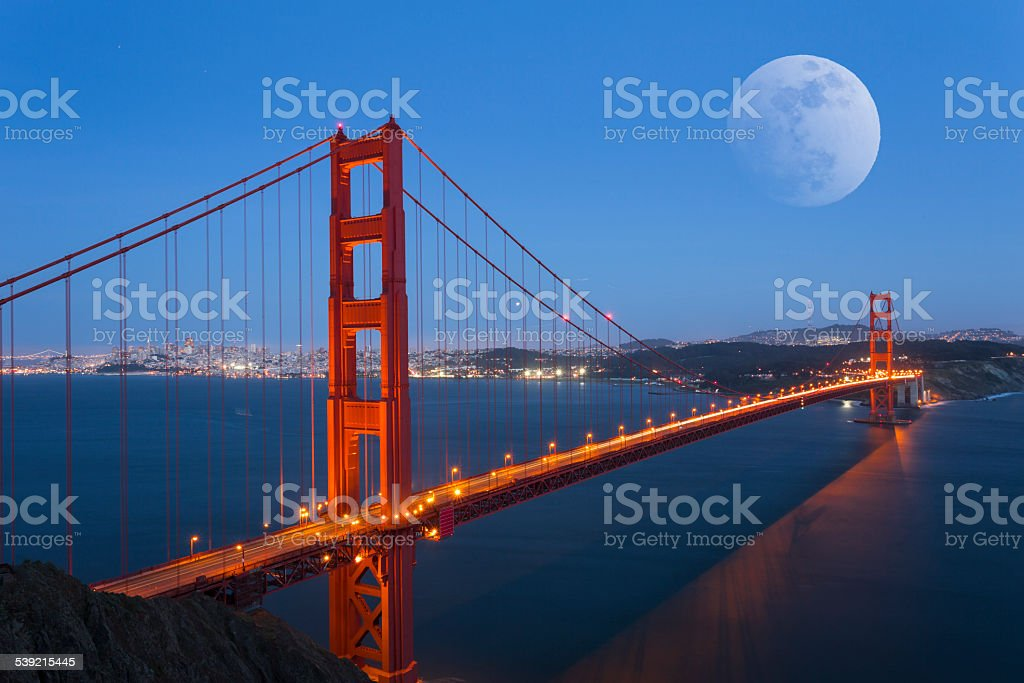 Moonrise in Golden Gate Bridge stock photo