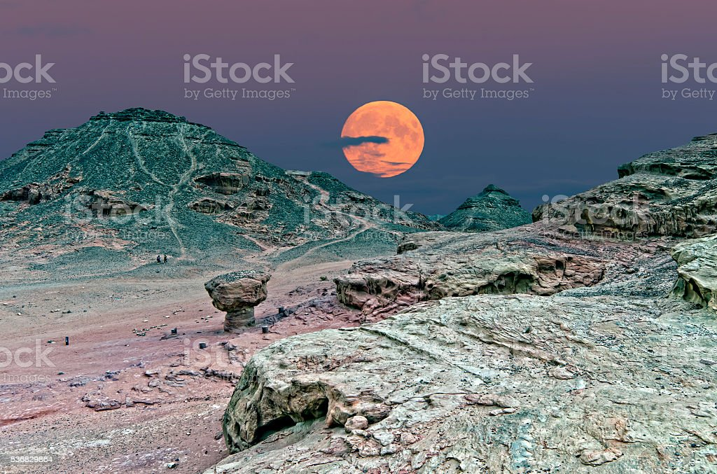 Moonrise in Timna park, Eilat, Israel stock photo