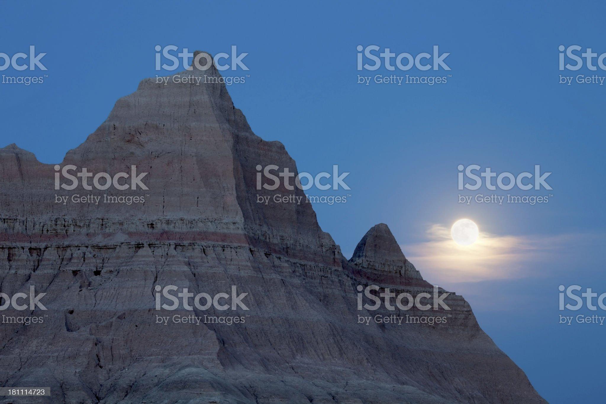 Moonrise over Badlands National Park South Dakota royalty-free stock photo