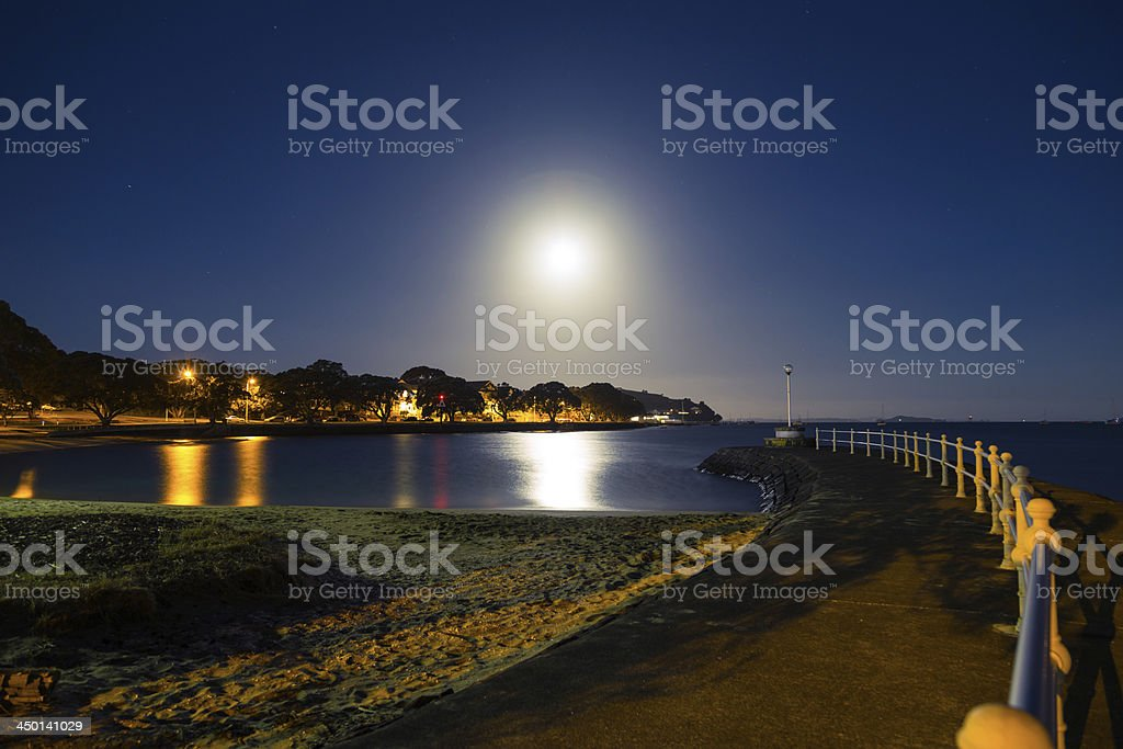 Moonrise over Devonport stock photo