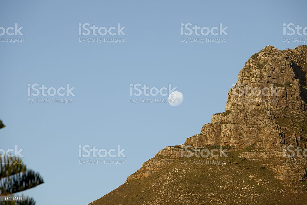 Moonrise over Llandudno, Cape Town. stock photo