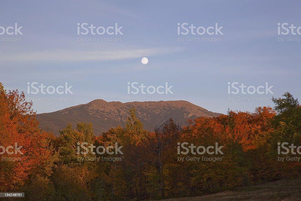Moonrise over Mt. Lafayette stock photo