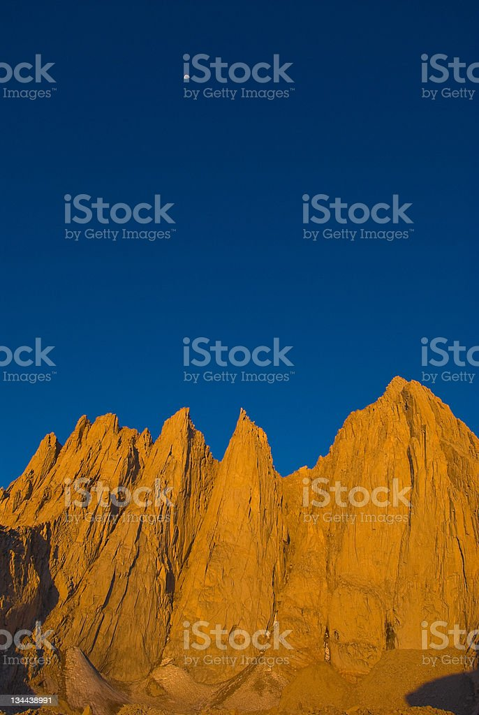 Moonrise over Mt. Whitney California High Sierras royalty-free stock photo
