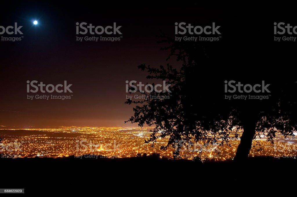 Moonrise over San Jose stock photo