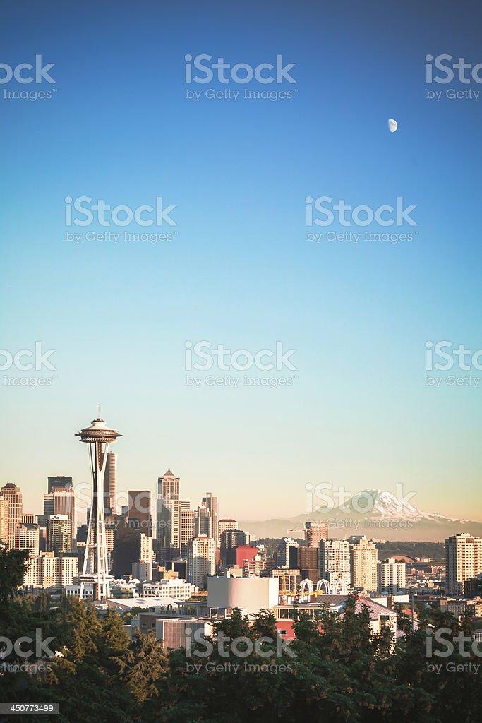 Moonrise over Seattle Skyline stock photo