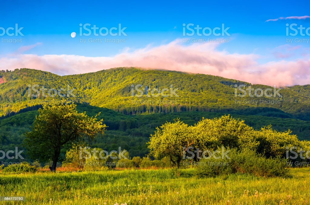 moonrise over the mountain in rural area at sunset stock photo