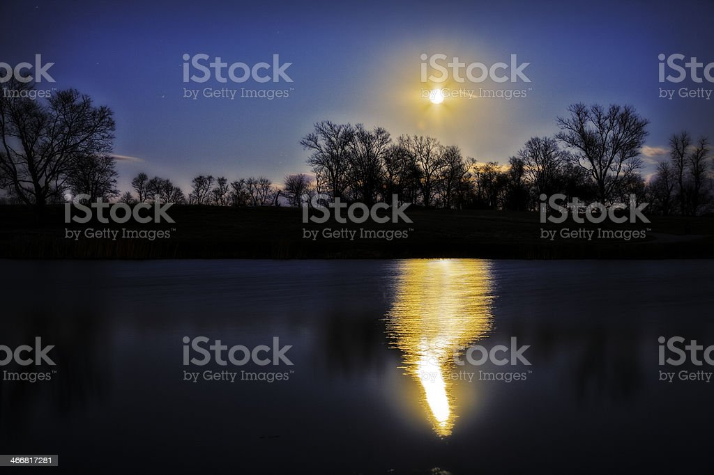 Moonrise over the Pond royalty-free stock photo