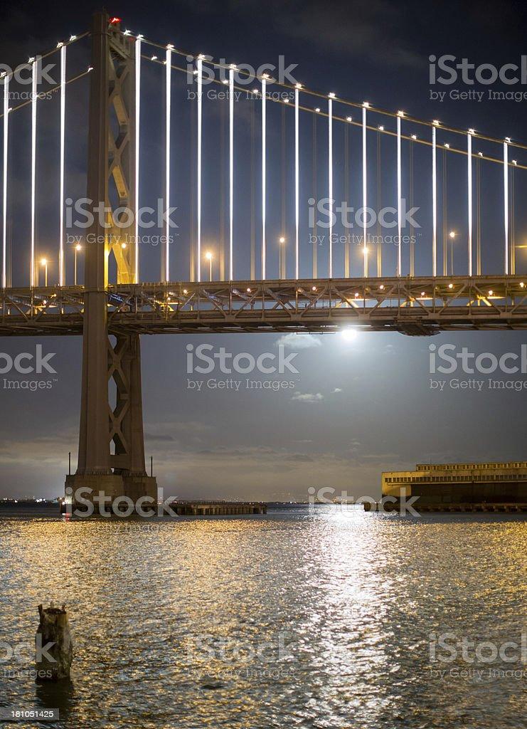 Moonrise San Francisco Oakland Bay Bridge royalty-free stock photo