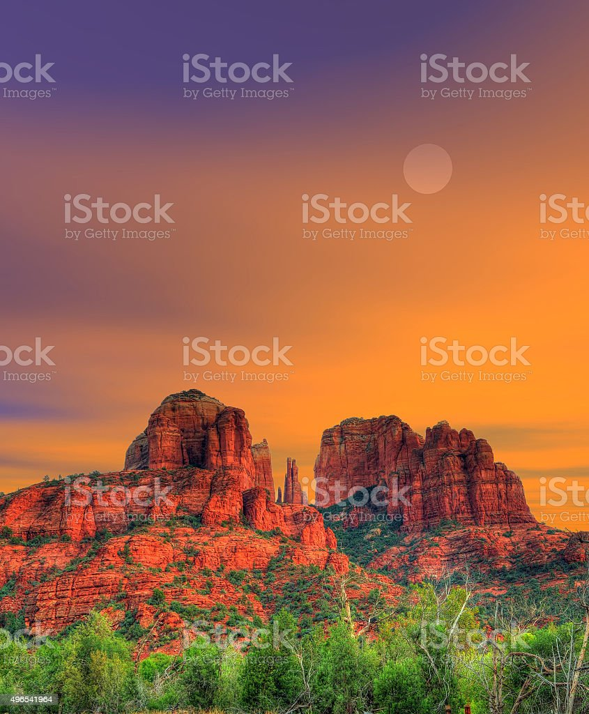 Moonrise Sedona Arizona stock photo