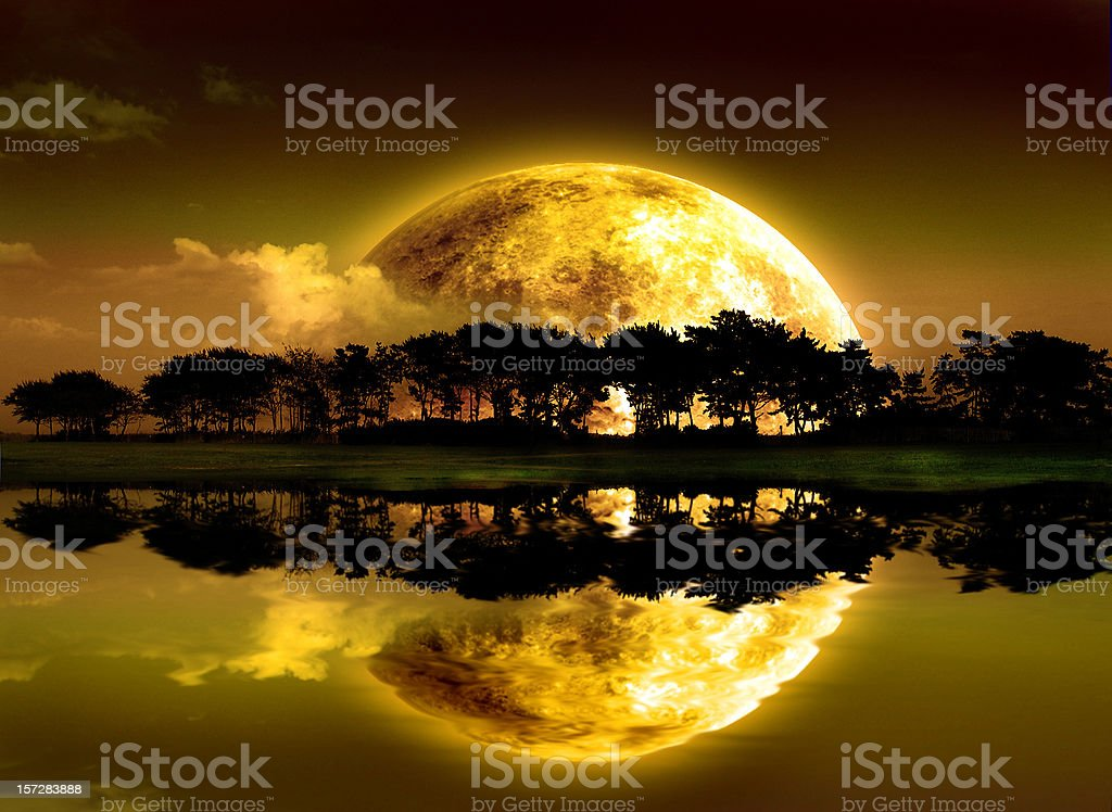 Moon's reflection royalty-free stock photo