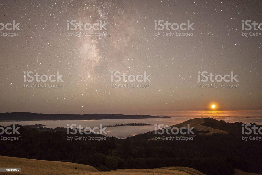 Moonset and Milky Way royalty-free stock photo