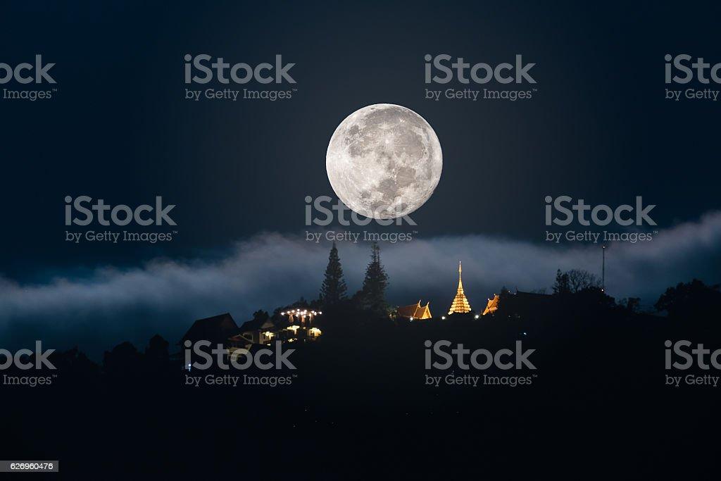 Moonset at Chiang Mai, Thailand. stock photo