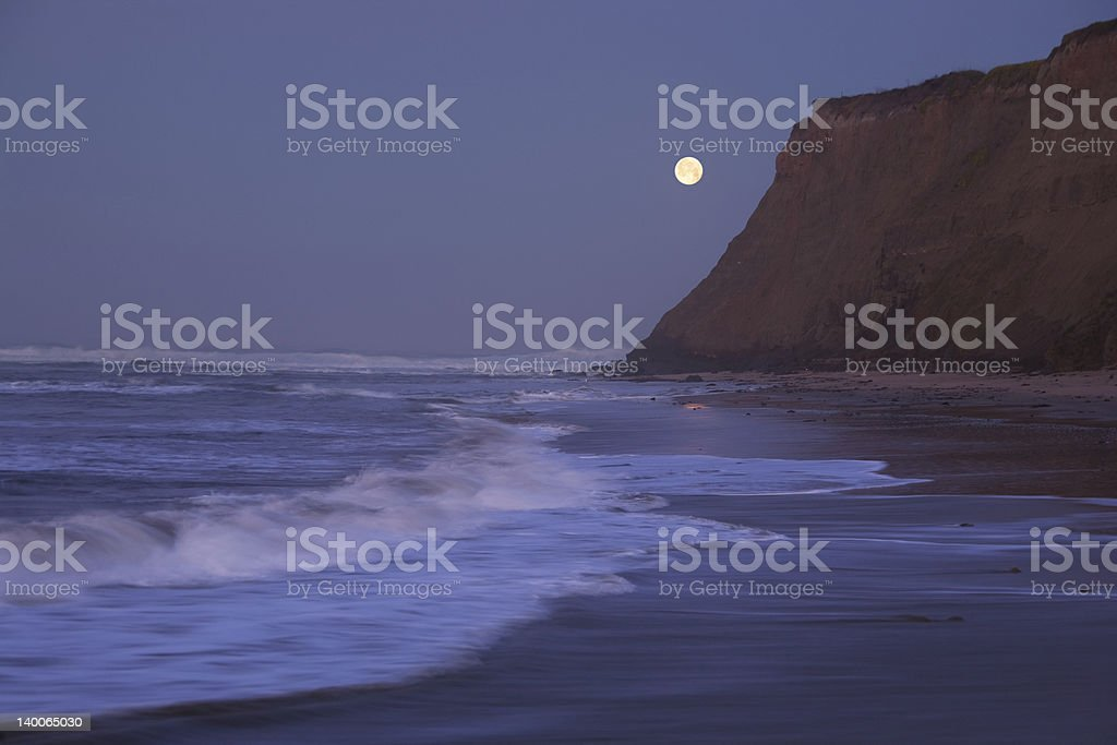Moonset at Half Moon Bay stock photo