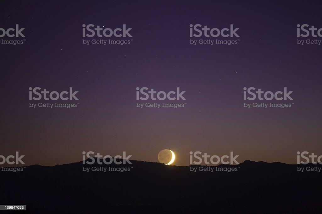 Moonset at Lake Tahoe stock photo