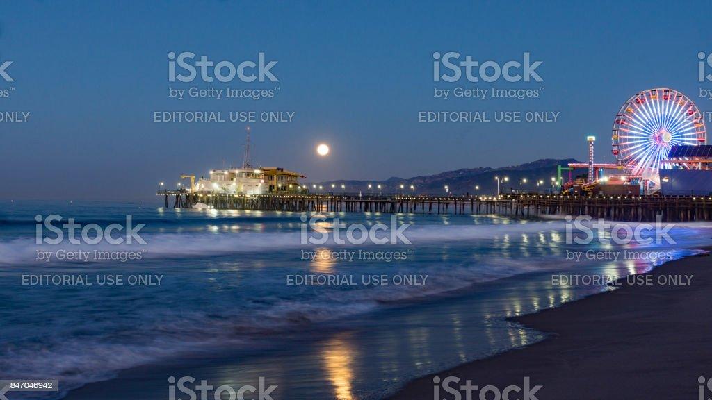 Moonset in Sta Monica stock photo