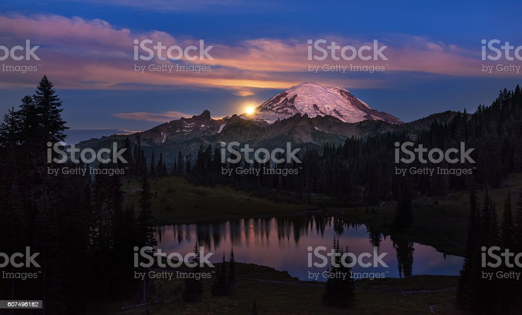 Moonset in the Mountains stock photo