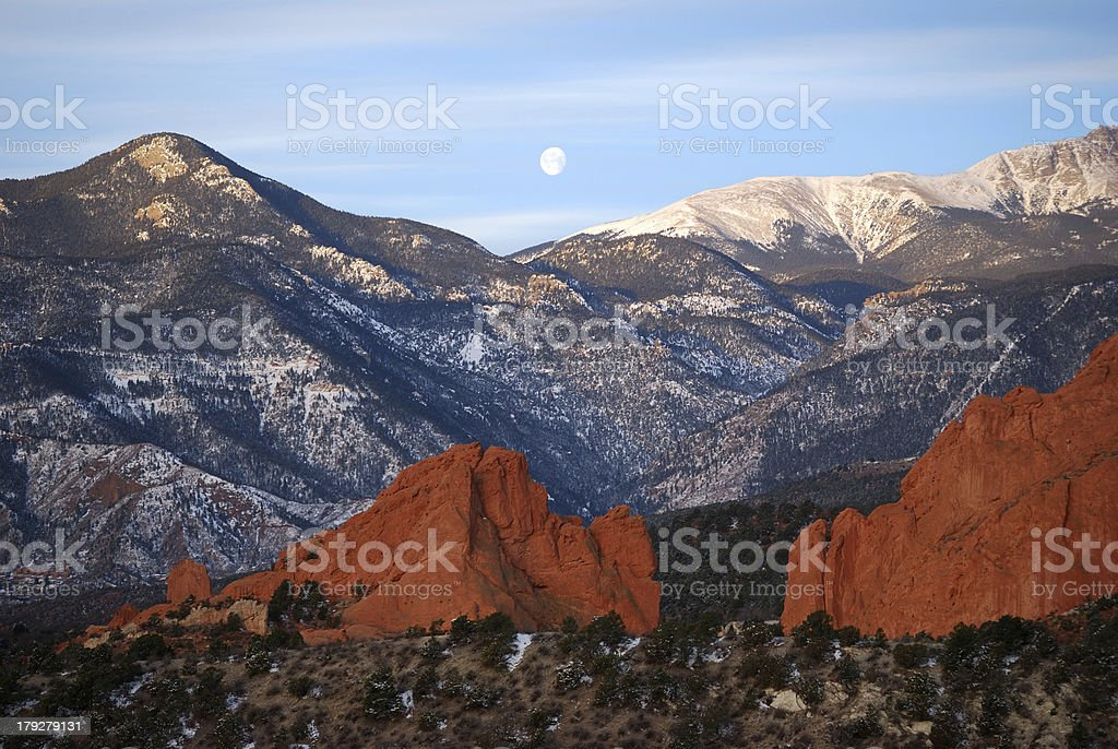 Moonset over Garden of the Gods royalty-free stock photo