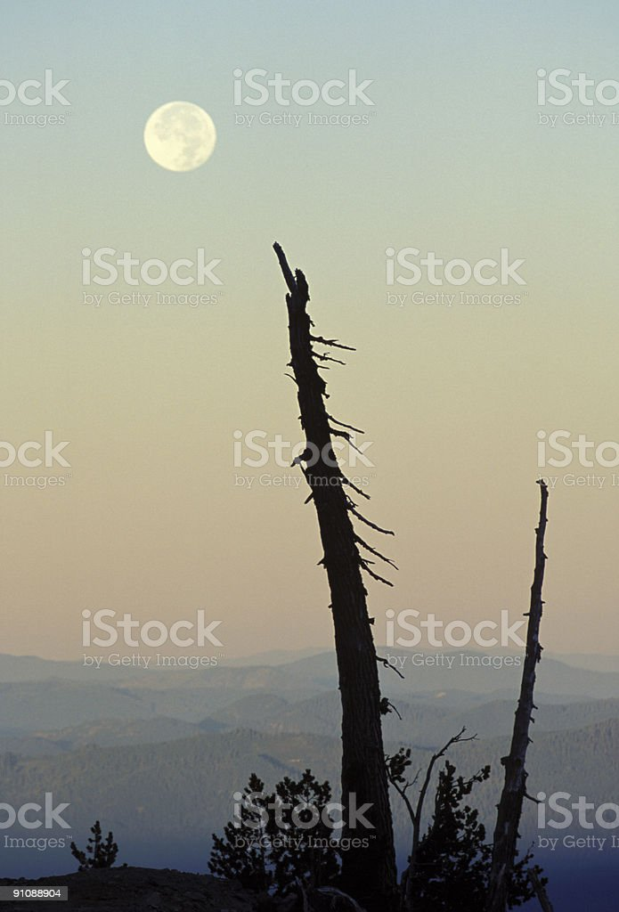 Moonset over Mountains royalty-free stock photo