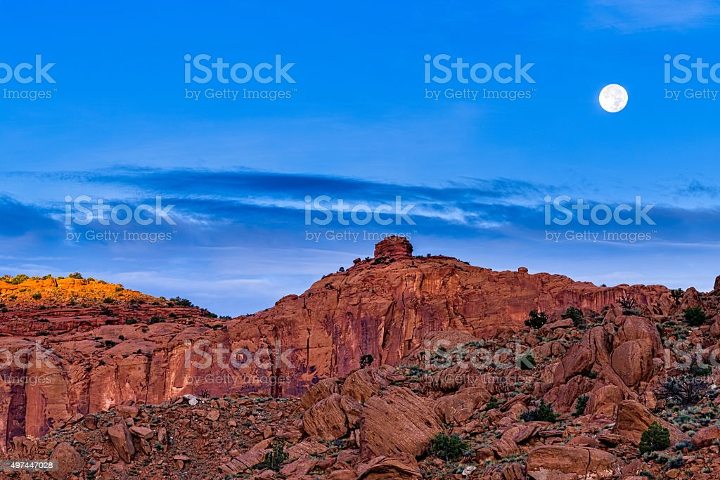 Moonset Over Scenic Red Rock Canyon stock photo
