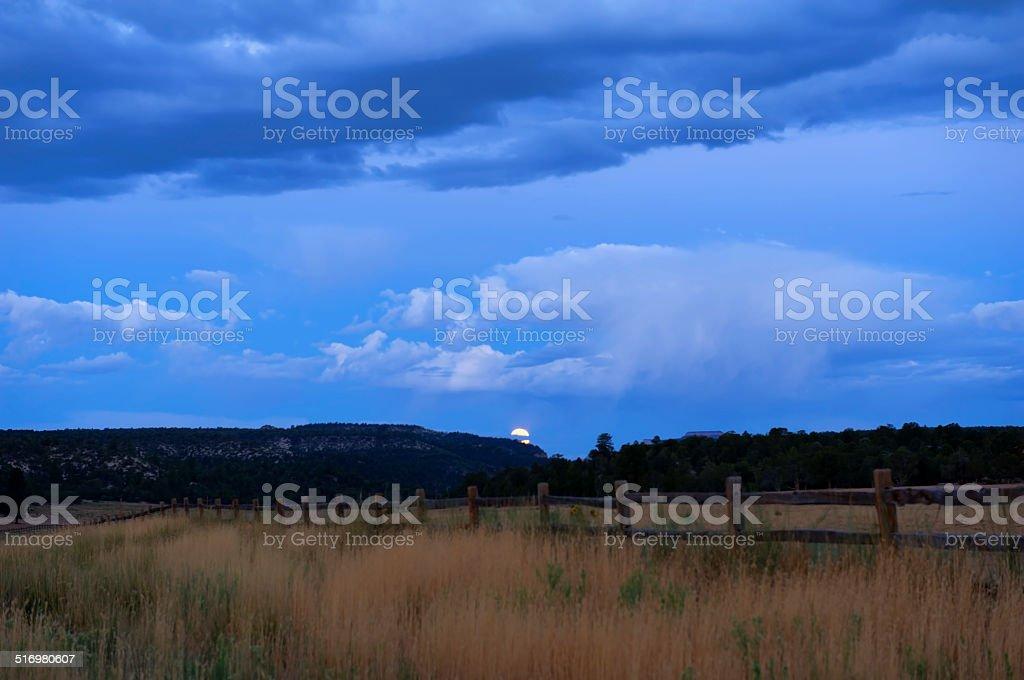 Moonset Over Utah Landscape stock photo