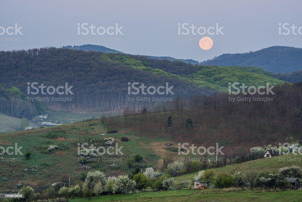 Moonset stock photo