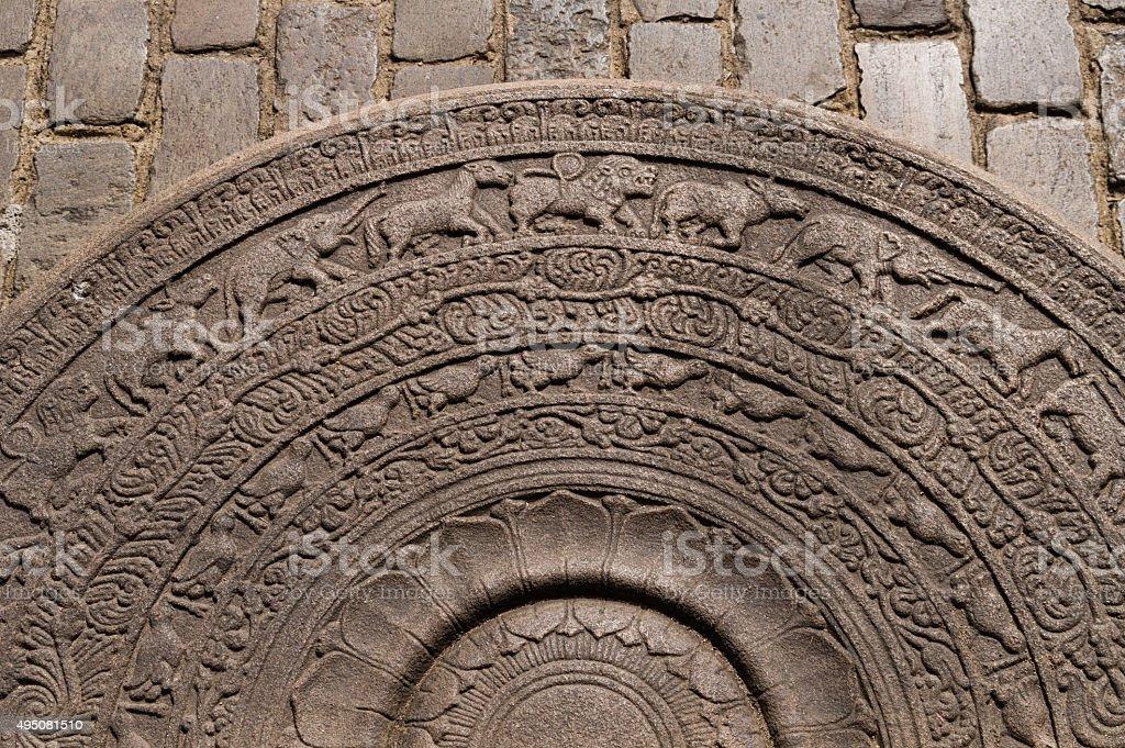 Moonstone at Gangaramaya Temple stock photo
