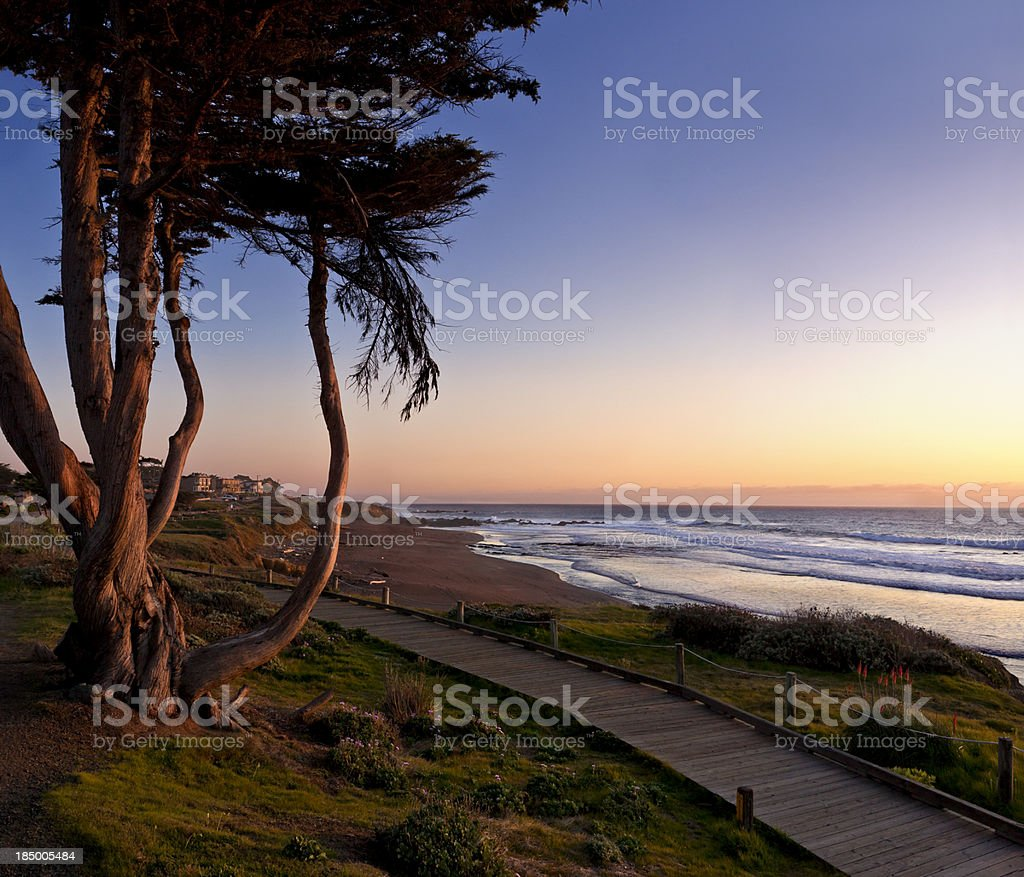Moonstone Beach at Sunset Panorama stock photo