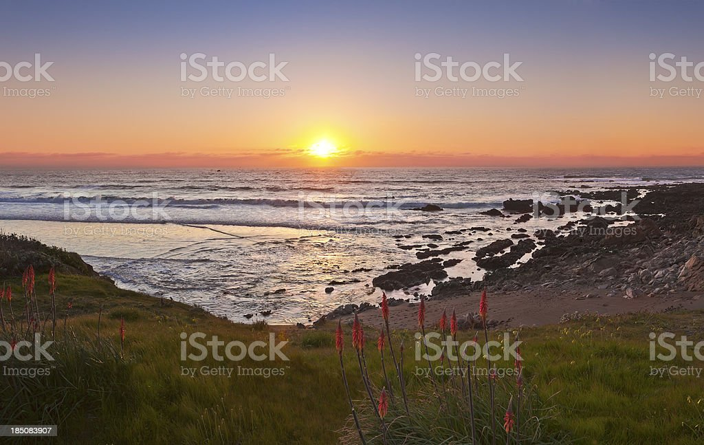 Moonstone Beach at Sunset stock photo