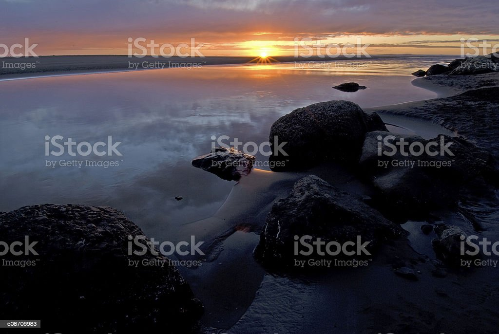 Moonstone Beach Sunset stock photo