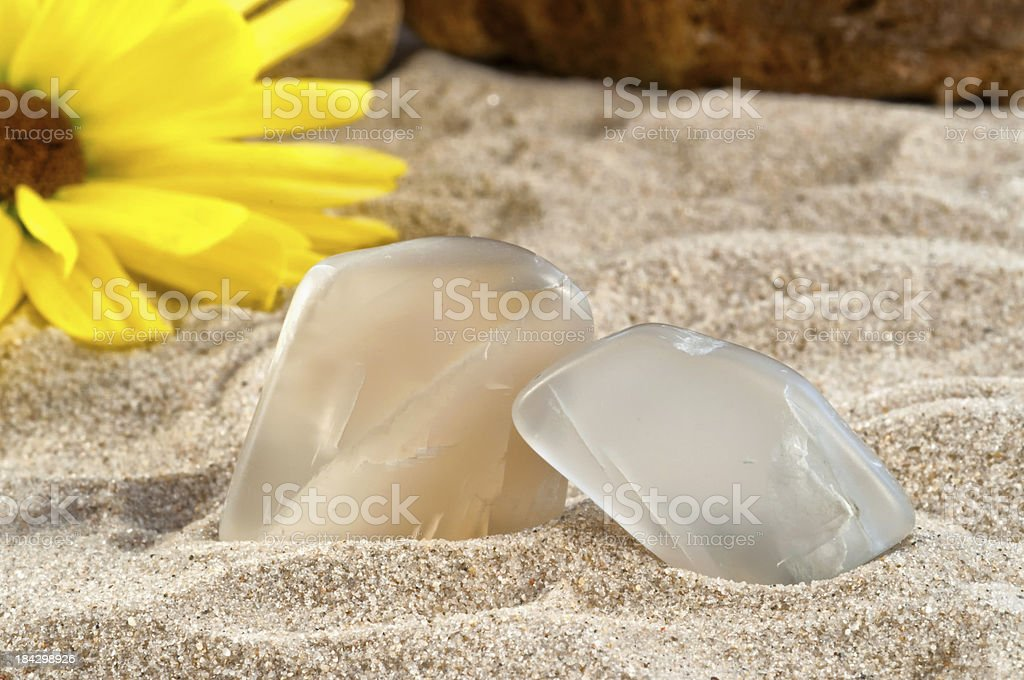 Moonstone - half precious stone. guaranteed authentic stock photo