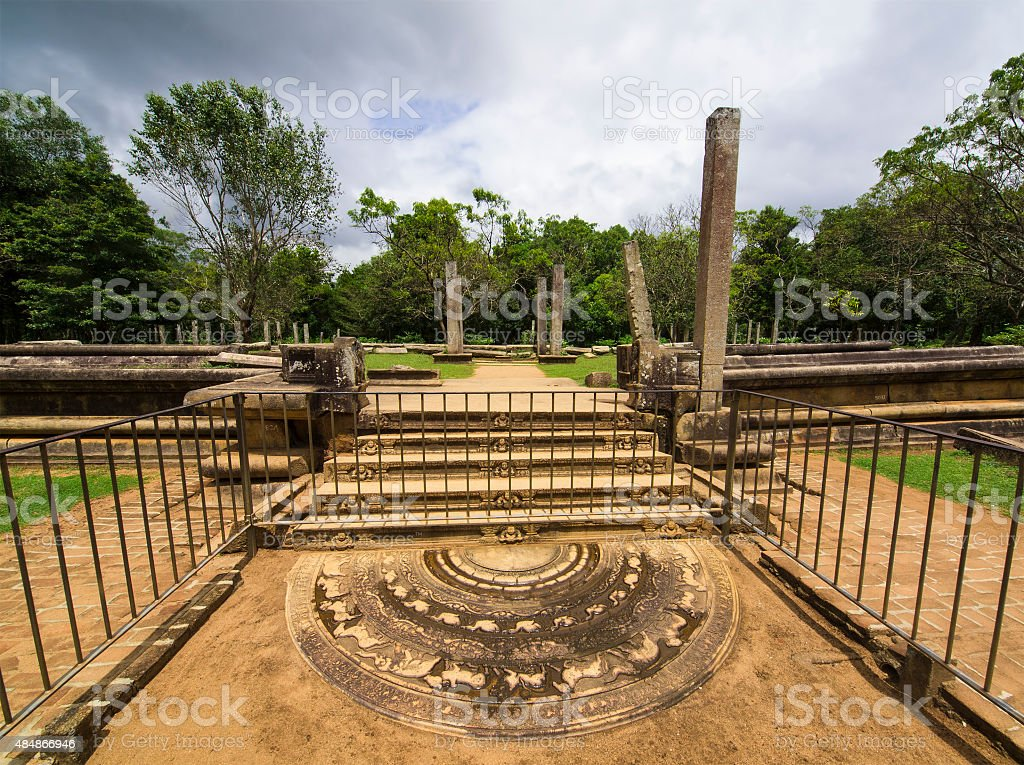 Moonstone in front of Ruins site at Anuradhapura, Sri Lanka stock photo