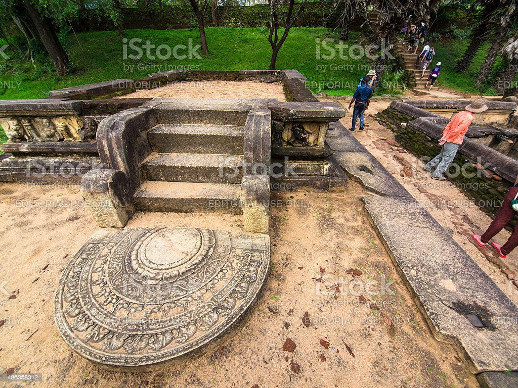 Moonstone near Polonnaruwa Ancient royal bathing pool, Sri Lanka stock photo