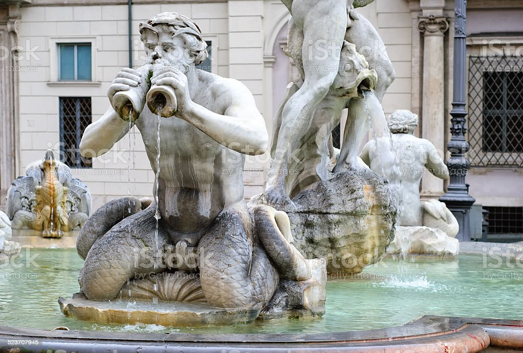 Moor Fountain, Piazza Navona, Rome, Italy stock photo