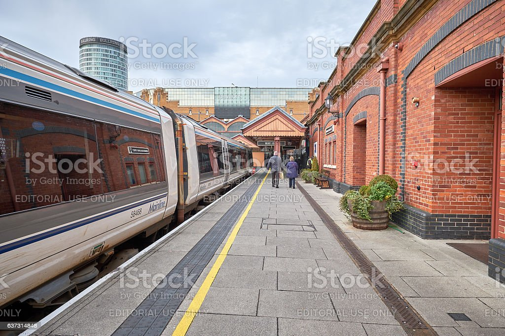 Moor Station Birmingham, UK, in the background the Bull Ring stock photo