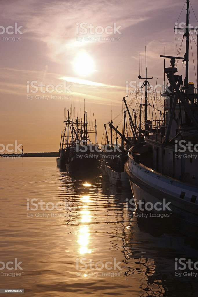Moorage at Sunset. royalty-free stock photo