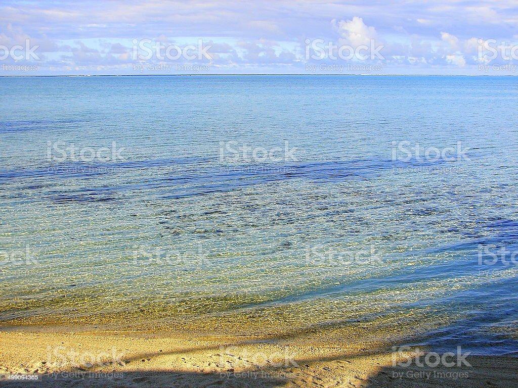Moorea crystalline turquoise sand beach, Polynesia, Tahiti royalty-free stock photo