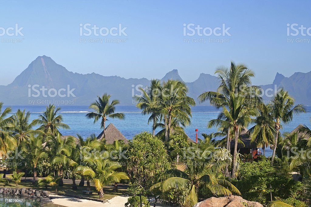 Moorea from Tahiti royalty-free stock photo
